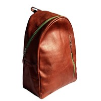 sol ☀️ brown leather laptop backpack with green zippers   signature bati collection