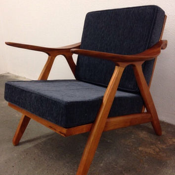 Danish Mid Century Modern Style Teak Lounge Chair - Hans Wegner Style Wood Armchair Sculpted Arms