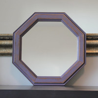 Purple wood octagon wall mirror - Purple decor, rustic decor, wood decor, distressed mirror