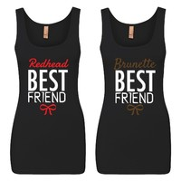 Brunette and Redhead Best Friends Girl BFFS Jersey Tank Tops