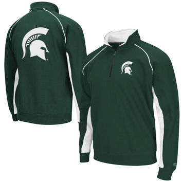 Men's Colosseum Green Michigan State Spartans Big & Tall Crest Quarter-Zip Sweatshirt