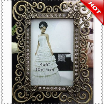 factory 10pcs 6 inch classic bronze wedding foto crystal photo frame/picture foto frame/wedding birthday gift/home decoration