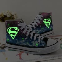 Galaxy Shoes Hand Painted Shoes superman canvas shoes sneakers high top shoes = 1946863684