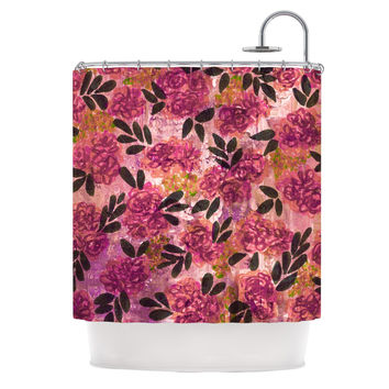 "Ebi Emporium ""Grunge Flowers II"" Pink Floral Shower Curtain"