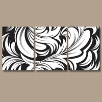 DAMASK Wall Art Canvas Artwork Swirl Flourish Design Black White Set of 3 Prints Decor Bedroom Bedding Bathroom Three