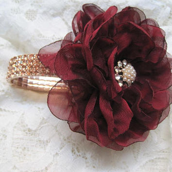 Gorgeous Two Tone Cranberry Chiffon Flower with Rose Gold Rhinestone Wrist Corsage Bracelet Custom Order Wedding Prom Homecoming Formals