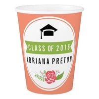 Class of 2016 graduation peach, green floral paper cup