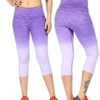 Active Heathered Ombre Capri Leggings In S,M,L in 8 Colors