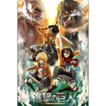 Cool Attack on Titan S2079  2 Eren Jaeger Hot Anime Wall Art Painting Print On Silk Canvas Poster Home Decoration AT_90_11