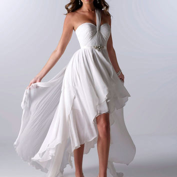 Hot Selling White Chiffon One Shoulder High Low Short Front Long Back Beach Wedding Gown Cheap Wedding Dresses Bride Gowns