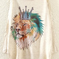Crowned Lion Pattern Sweater