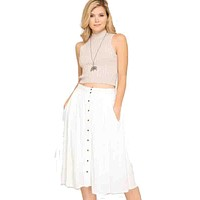 Kixters - Off-White Button Down Midi Skirt