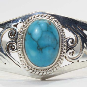 Hand Cut Sterling Silver Turquoise Cuff Bracelet