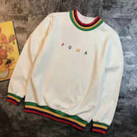PUMA New fashion bust embroidery letter rainbow stripes couple sports leisure long sleeve top sweater White