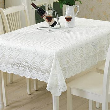 Yazi Pastoral White Lace Tablecloth Embroidered Floral Tableclot