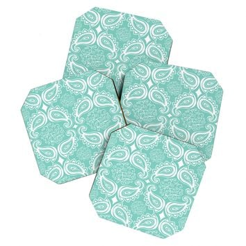 Heather Dutton Plush Paisley SeaSpray Coaster Set