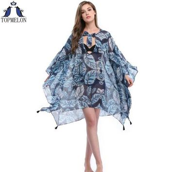 VONETDQ Pareo  Beach Cover Up Floral Embroidery Bikini Swimsuit Cover Up Robe De Plage Beach Cardigan Swimwear Bathing Suit Cover Up