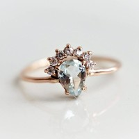 Pear Aquamarine Lily Ring