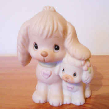 1980s Tippy and Sandy Puppy Figurine- Samuel J Butcher for Enesco Precious Moments- Kitsch Cute Love Dog  Ornament