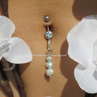 Aqua Pearl Naval Ring Accessory, Belly Button Ring Accessory, Belly Ring Charm, Body Chain Charm, Interchangeable Charms, Freshwater Pearl