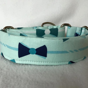 "Derby Main Aqua Martingale or Quick Release Collar 1.5"" Martingale Collar or 1.5"" Quick Release Collar Buckle Collar Bow Tie Collar"