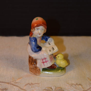 Japan Girl Figurine Vintage Miniature Lady Chicken Made in Japan Porcelain Figurine Girl's Room Decor Windowsill Shadowbox Figurine