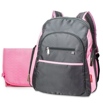 sporty diaper backpack gray and pink from burlington coat factory. Black Bedroom Furniture Sets. Home Design Ideas