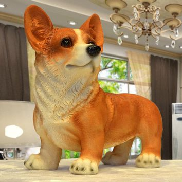 Resin Corgi Dog Figurines Modern Decoration Lucky Resin Craft Corgi Standing Polyresin Home and Garden Decoration