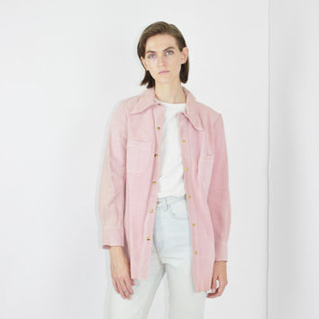 vtg 70s SUEDE leather chambray baby pink button down jacket pastel pink casual jacket medium med m