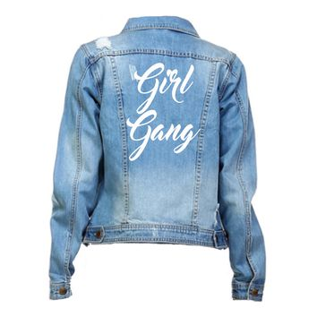Girl Gang Distressed White Font Mid Wash Denim Jacket