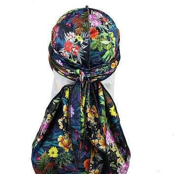Floral Printed Velvet Durag with Long Strap For Hair Waves