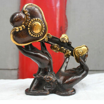 Chinese Folk Culture Handmade Brass Bronze Statue Buddha Of Hand Sculpture wedding Brass Fine Arts Crafts decoration