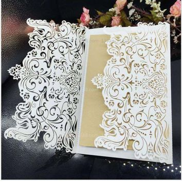 20Pcs/Lot 12*18cm Creative Hollow Laser Cut Wedding Business Party Birthday Invitations Cards Wedding Supplies Decoration 8z