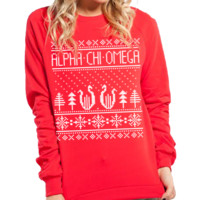 Alpha Chi Omega - Holiday Crew Neck Sweatshirt (Red)