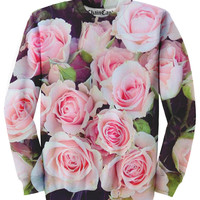 Pink Floral Rose Allover Printed Sweatshirt