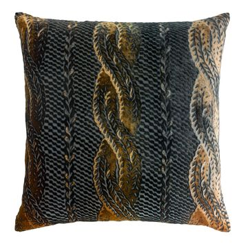 Copper Ivy Cable Knit Velvet Pillow by Kevin O'Brien Studio