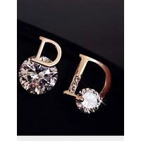 Dior Fashion Women Fashion Female Earrings Golden Silver