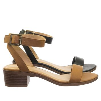 Jar Timeless Low Block Stack Heel Open Toe Sandal w Ankle Strap