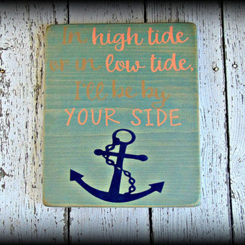 Nautical Home Decor, Anchor Plaque, Family Sign, Boho Decor, Cottage Sign, Blue Home Decor, Wedding Gift, Wedding By The Sea,Gift For Couple