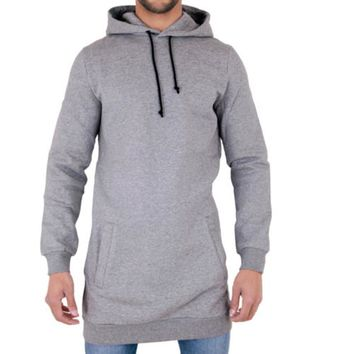 Fleece Hoodie With Pocket Men Longline Sweatshirt Extra Long Oversized Tall Tees