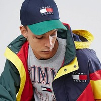 Tommy Jeans 90's Capsule Color Block Baseball Cap in Navy/Green at asos.com