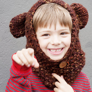 Animal Ears Hooded Cowl, Knit Kids Bear Hood, Animal Hoodie Cowl, Bear Hood Cowl, Kids Hooded Cowl, Knit Bear Ears Hood, Hooded Bear Cowl