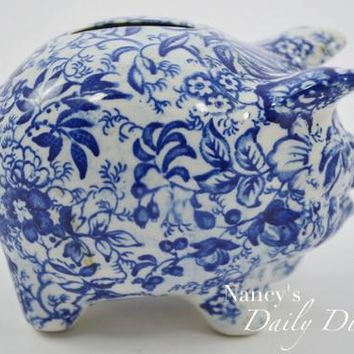 Vintage Figural Blue Transferware Chintz Pig Piggy Bank by James Kent Hard to Find
