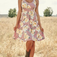 Life Is Beautiful Floral Dress (Mauve)