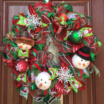Snowman Christmas Wreath - Snowman Wreath Red and Green Deco Mesh Wreath -  Christmas Decor - Xmas - Holiday Wreath - Frosty Wreath