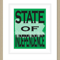 8x10 Pennsylvania Print, State of Independence Typography Art Custom Color Map Art