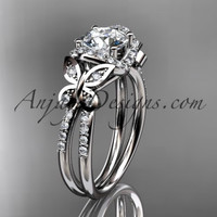 "Platinum diamond butterfly wedding ring, engagement ring with a ""Forever One"" Moissanite center stone ADLR141"