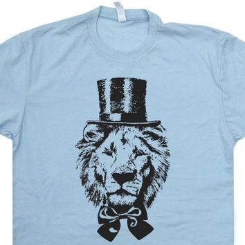 Lion T Shirt Vintage Lion Shirt Cool Animal Tee Shirts Lion Top Hat Shirt