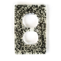 Black & White Pearly Candy Resin Double Outlet Cover