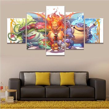 5 piece Diamond Painting  cartoon Wall Art Picture for Home decor,3d diamond embroidery mosaic cross-stitch craftsKawaii Pokemon go  AT_89_9